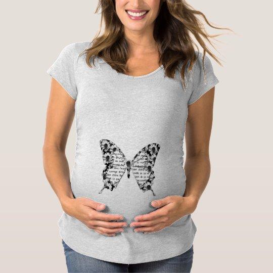 T-shirt grossesse manches courtes gris, papillon