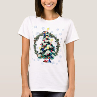 T-shirt GUIRLANDE d'ELFES, d'ARBRE et de SAPIN par SHARON