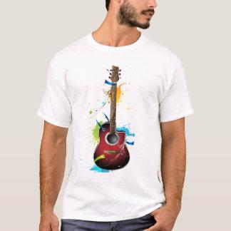 T-shirt Guitare acoustique avec des éclaboussures de