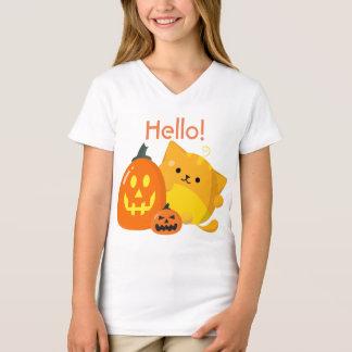 T-shirt Halloween personnalisable - chat de citrouille