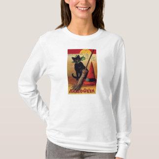 T-shirt Halloween vintage avec un casquette de chat noir
