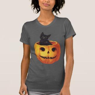 T-shirt Halloween vintage, chat noir mignon dans un
