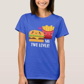T-shirt Hamburger et pommes frites deux amours Kawaii
