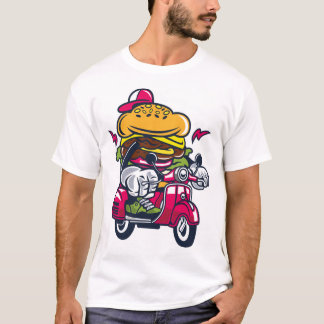 T-shirt Hamburger sur le scooter