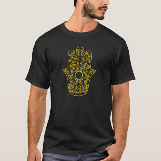 T-shirt Hamsa-Main jaune d'ensemble de citron de