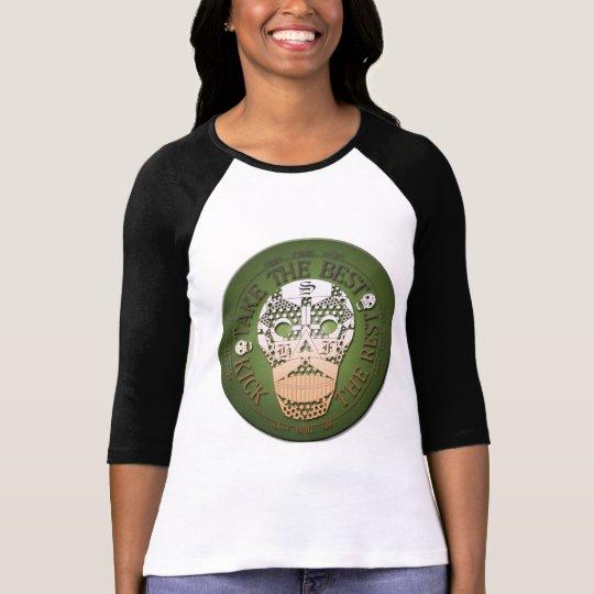 T-shirt happy skull tee shirt raglan kaki