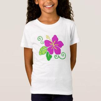 T-shirt hawaïen de fleur de ketmie de filles