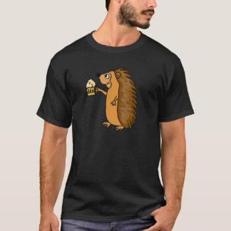 T-shirt Hérisson drôle soulevant une chemise de pinte
