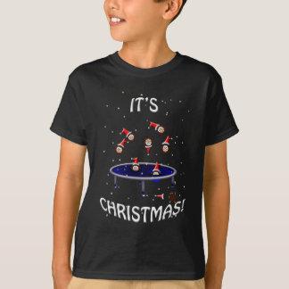 T-shirt hérissons trampolining de Noël ayant l'amusement