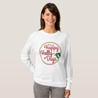 T-shirt heureux d'art de mot de Noël de jours de