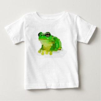 T-shirt heureux de bébé de grenouille (blanc)