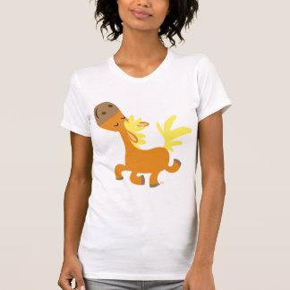 T-shirt heureux de femmes de poney de bande