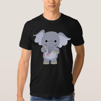 T-shirt heureux d'éléphant de bande dessinée