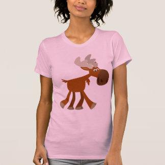 T-shirt heureux mignon de femmes d'orignaux de