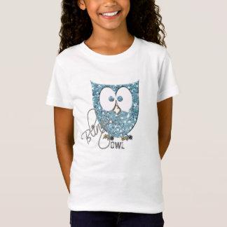 T-Shirt Hibou bleu de Bling de scintillement (Faux)