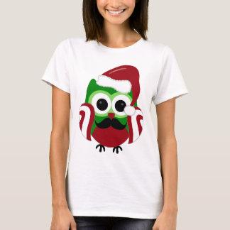 T-shirt Hibou de Père Noël de Noël de moustache
