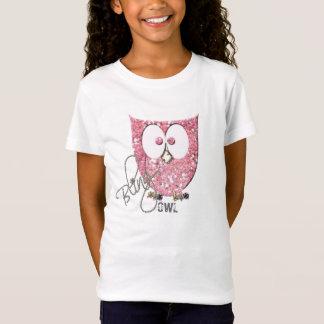 T-Shirt Hibou rose de Bling de scintillement (Faux)