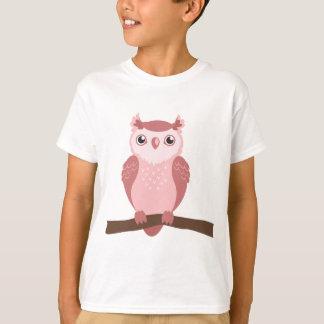 T-shirt Hibou rose mignon de région boisée