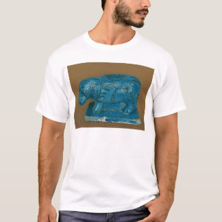 T-shirt Hippopotame bleu avec la décoration noire