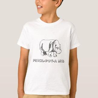 T-shirt hippopotame, mus de crayon-pot-un