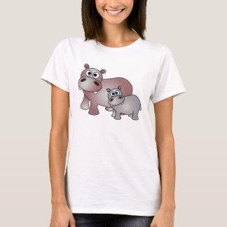 T-shirt Hippopotames mignons maman et bébé