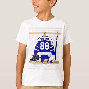 T-shirt Hockey sur glace bleu et blanc personnalisé Jersey