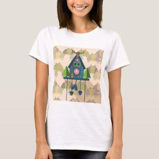 T-shirt Horloge de coucou avec le papier peint de tortue