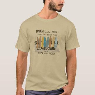 T-shirt Humour surfant de premier homme avec Longboards