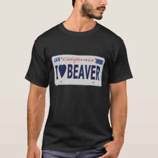 T-shirt I plaque minéralogique de castor de coeur