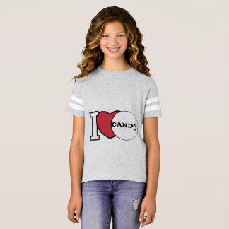T-shirt I sucrerie de coeur par le football T de la fille