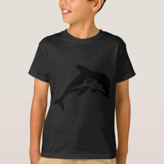 T-shirt icône noire de dauphin