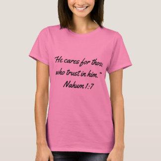 """T-shirt """"Il s'inquiète"""" l'écriture sainte T des femmes"""
