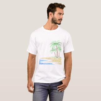 T-shirt Île tropicale illustrée avec des villes de la