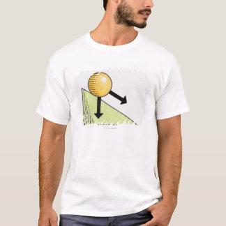 T-shirt Illustration de boule abaissant une pente, flèches