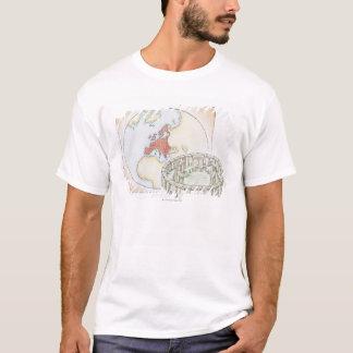 T-shirt Illustration de cercle en pierre antique devant