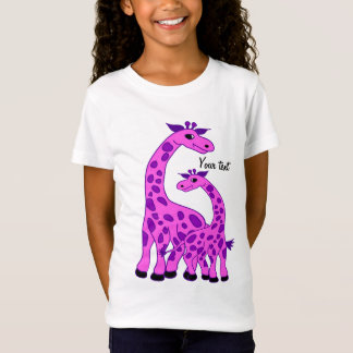T-Shirt Illustration de girafe dans la couleur rose