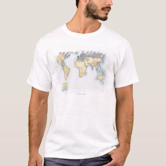 T-shirt Illustration de la carte du monde montrant des