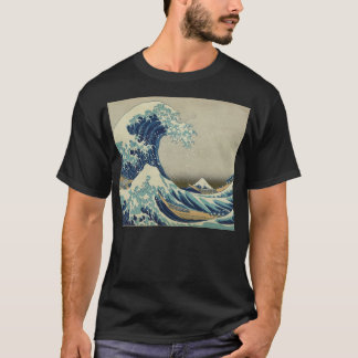 T-shirt Illustration de vague bleue de Japonais