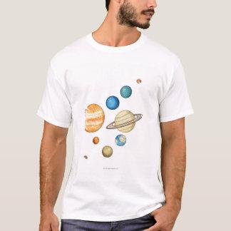 T-shirt Illustration des planètes du système solaire