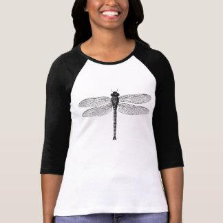 T-shirt Illustration noire et blanche vintage de libellule