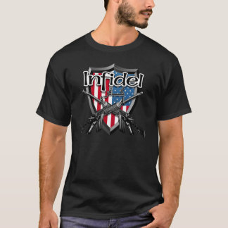 T-shirt Infidèle américain : Texte anglais et arabe AR15