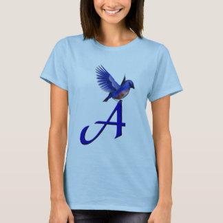 T-shirt Initiale de monogramme une chemise d'oiseau bleu