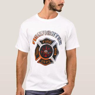 T-shirt Insigne de chrome de corps de sapeurs-pompiers