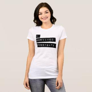T-shirt j'ai survécu à la porte de chat - étiquette noir