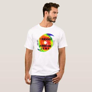 T-shirt J'AI SURVÉCU À L'OURAGAN IRMA, texte noir sur