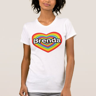 T-shirt J'aime Brenda : coeur d'arc-en-ciel
