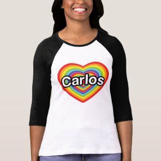 T-shirt J'aime Carlos : coeur d'arc-en-ciel