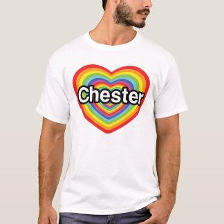 T-shirt J'aime Chester : coeur d'arc-en-ciel