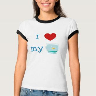 T-shirt J'aime (coeur) ma chemise de poissons d'or