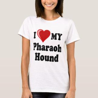 T-shirt J'aime (coeur) mon chien de chasse de pharaon